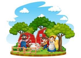 有红色谷仓和风车的农场_11691166