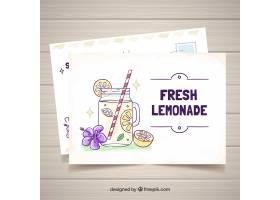 柠檬水手绘夏日卡片模板_2219424