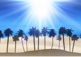 棕榈树剪影的夏日景观_8438425
