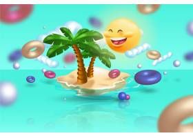 棕榈树的现实主义夏季概念_8264619