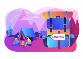 森林里的帐篷游客徒步旅行背包度假夏_10780527