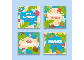 平面设计的夏日卡片套装_8248234