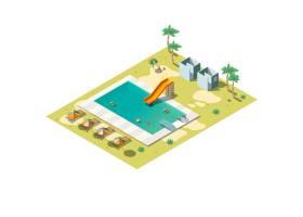 度假村游泳池等轴测插图_4758463