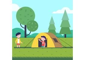 徒步旅行的男孩们睡在小帐篷里_1311383