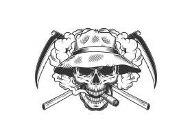 戴巴拿马帽的复古单色骷髅_7983936