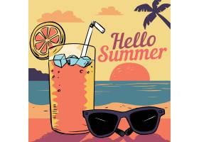 戴着墨镜和鸡尾酒的手绘你好夏日_8374360