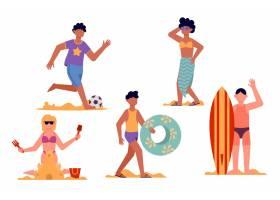 扁平设计沙滩人物系列_9905140