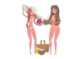 手持泳衣和热带水果的女性_4806438