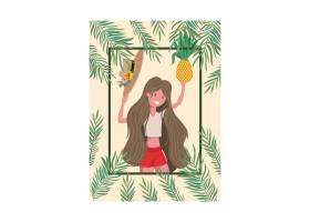 手持泳衣和菠萝的女子_4741003