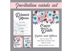 带鲜花模板的婚礼邀请卡套装_4286016