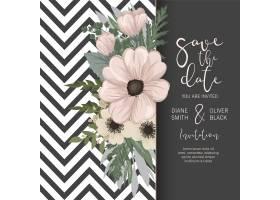 带鲜花的婚礼邀请卡套间模板矢量插图_4295142