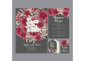 带鲜花的婚礼邀请卡套间模板矢量插图_4295153