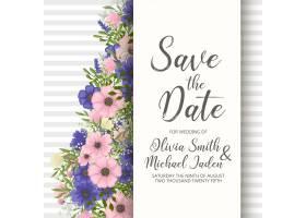 带鲜花的婚礼邀请卡套间模板矢量插图_4476800