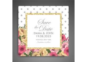带鲜花的婚礼邀请卡套间模板矢量插图_4571116