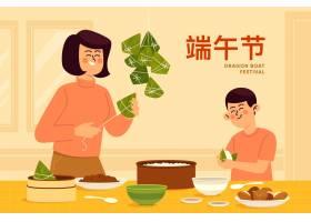 家庭制作和吃扁平设计的粽子_8399841