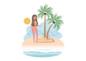 岛上穿着泳衣和手掌的女人_4740973