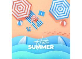 带伞的纸质夏日背景_8247828