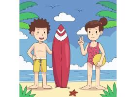 带冲浪板的海滩人_9386725