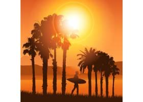 带冲浪者的热带风景剪影_839541