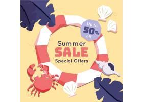 平面设计夏季特价螃蟹和浮油_8508256