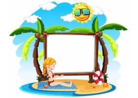 带有夏季主题的空白横幅_11690171