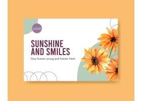 带有夏花概念设计水彩画的社交媒体模板_8907993