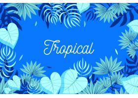 带有树叶或花朵的热带字母_7973481