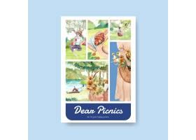 带有野餐旅游概念的海报模板_12801336