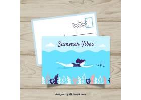 夏日风格的平板式旅游明信片模板_2341334