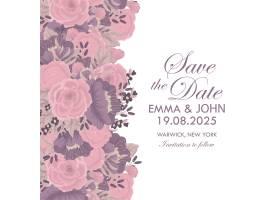 婚礼邀请函模板印有五颜六色的鲜花_4706432