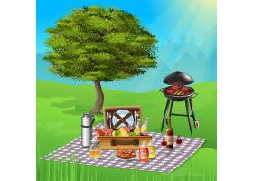 夏季野餐有葡萄酒奶酪水果和美味的烧_6850835