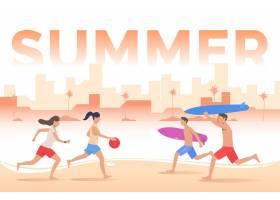 夏日刻字人们在海滩上玩球冲浪板_4951567