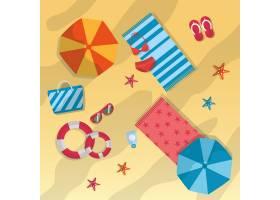 夏日海滩伞毛巾太阳镜海星包救生圈泳衣_5674889