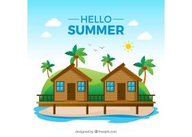 夏日背景平坦风格的海滩景观_2147396