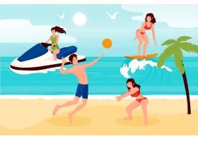 夏季在海滩上运动的人_9469830