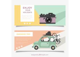 夏季旅行的横幅带着相机和老爷车_888184