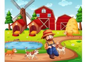 农场有红色的谷仓和风车场景_11690148