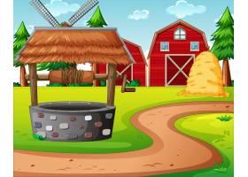 农场有红色的谷仓和风车场景_11691153