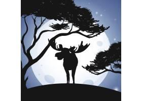 剪影中的鹿和森林场景_2440648