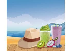 卡通风格的暑假和海滩_4795786