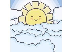 可爱的夏日阳光和云彩卡哇伊人物_5010666