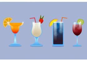 各种玻璃杯的平板设计鸡尾酒套装_9358512