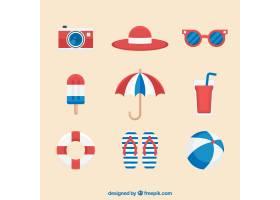一组夏季元素食物和衣服都是平坦的_2165037