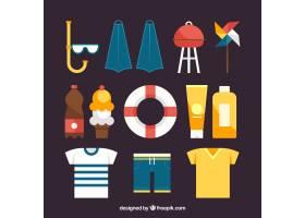 一组夏季元素食物和衣服都是平坦的_2170450