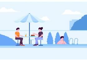 人们进行夏季户外活动的插图_9336499