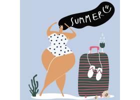 享受夏日矢量的女性角色_4168617