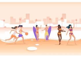 人们在城市海滩上玩球手持冲浪板_4950263
