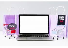 带购物车模型的前视笔记本电脑_5496636