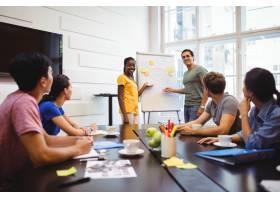 平面设计师与同事在白板上讨论_1005920