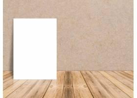 热带木地板和纸墙上的空白白纸海报模板样_1381292